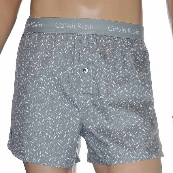Calvin Klein Woven Slim Fit Boxer 2-Pack Square Snowflake Medium Grey 927ae608d0c