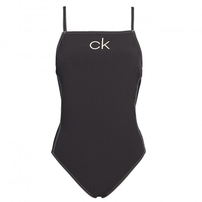 Calvin Klein Women Apron One Piece Swim Suit, Black