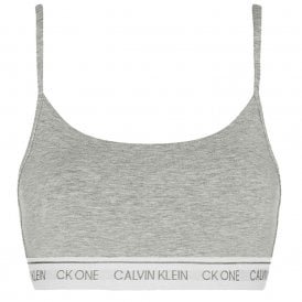 CK One Cotton Modal Blend String Bralette, Grey