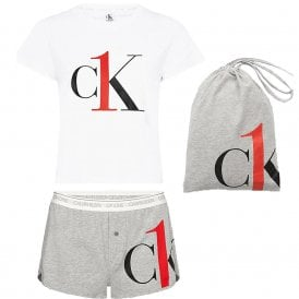 CK One T-Shirt/Short PJ Set, White/Grey