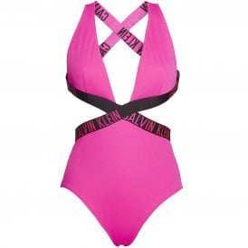 Intense Power Plunge One Piece Swimsuit, Pink Glo