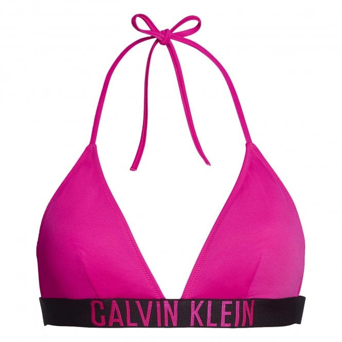 Calvin Klein Women Intense Power Swimwear Triangle Bikini Top, Pink Glo