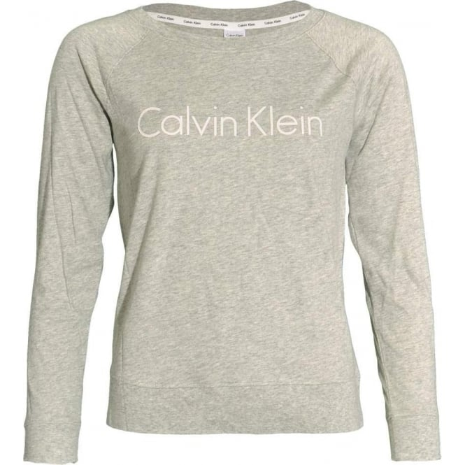 Calvin Klein Women Logo Long Sleeve Cotton PJ Top, Heather Grey