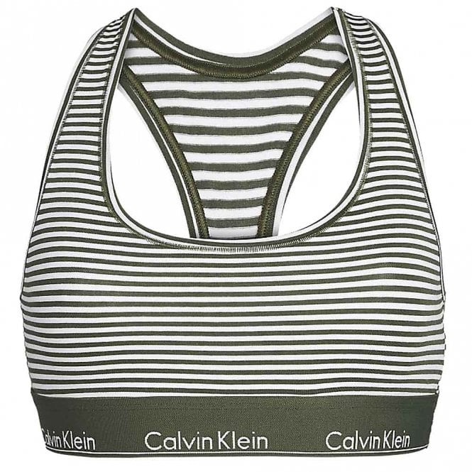 Calvin Klein Women Modern Cotton Bralette, Marching Stripe / Duffel Bag Green