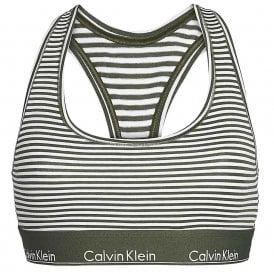 Modern Cotton Bralette, Marching Stripe / Duffel Bag Green