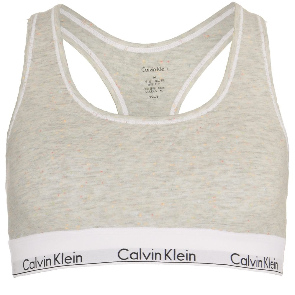 f68559562be Calvin Klein Women Modern Cotton Bralette Snow Heather   Neon Neps
