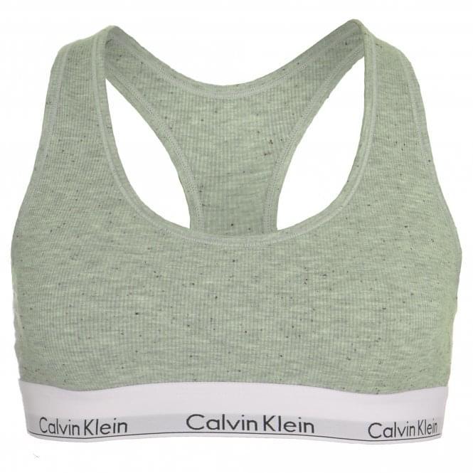 Calvin Klein Women Modern Cotton Ribbed Modal Bralette, Graphic Rib / Grey Heather