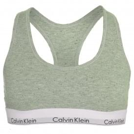 Modern Cotton Ribbed Modal Bralette, Graphic Rib / Grey Heather