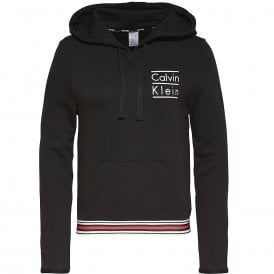 Modern Cotton Stacked Logo Hoody, Black