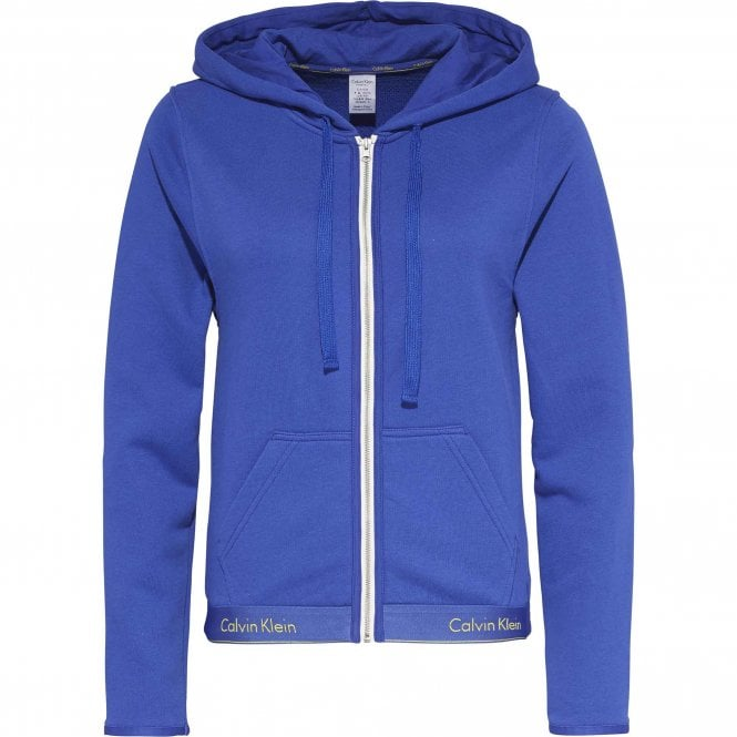 Calvin Klein Women Modern Cotton Zip Hoody, Pure Cerulean Blue