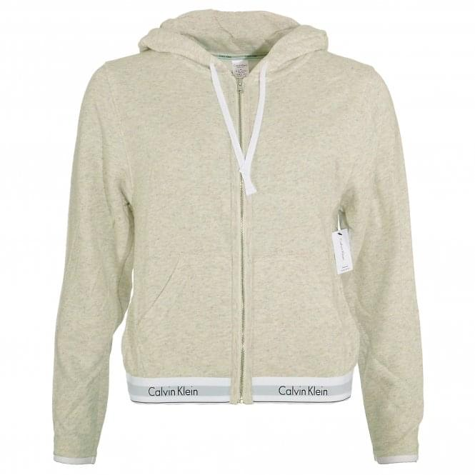 Calvin Klein Women Modern Cotton Zip Hoody, Snow Heather - Neon Neps