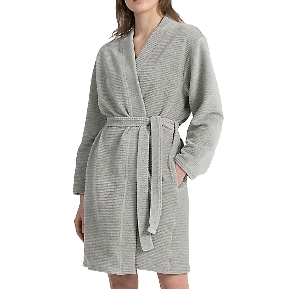 Calvin Klein Women Quilted Robe Grey