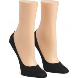 2 Pack Cotton No Show Liner Socks, Black