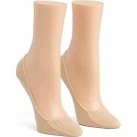 2 Pack Cotton No Show Liner Socks, Nude