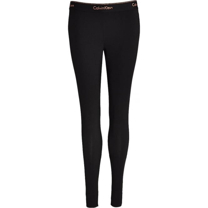 Calvin Klein Women Modern Cotton Legging, Black with Stencil Logo Rose Gold Glitter