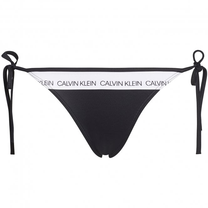 Calvin Klein Women Swimwear CK LOGO Side Tie Bottom, Black