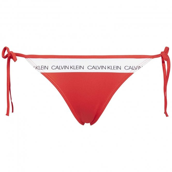 Calvin Klein Swimwear CK LOGO Side Tie Bottom, Laras Lipstick