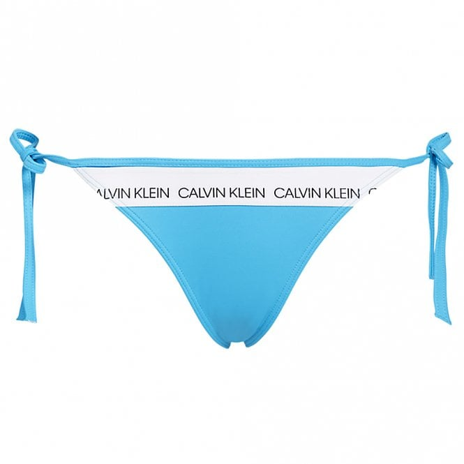 Calvin Klein Women Swimwear CK LOGO Side Tie Bottom, Maldive Blue