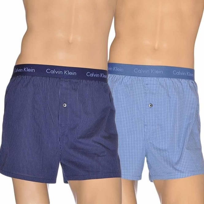 aac92e4f2233 Calvin Klein Woven Slim Fit Boxer 2-Pack Alexander Plaid/Casper Blue ...