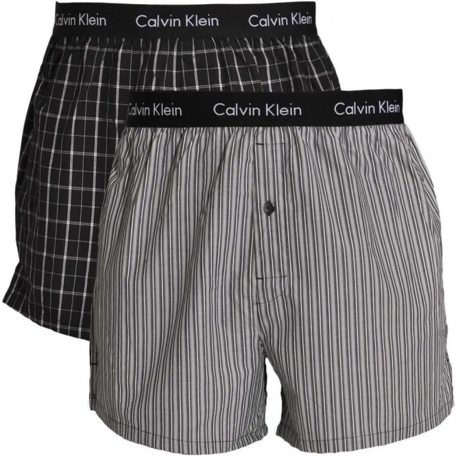 Calvin Klein Woven Slim Fit Boxer 2-Pack, Bristol Plaid Black / Overt Stripe Black