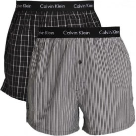 Woven Slim Fit Boxer 2-Pack, Bristol Plaid Black / Overt Stripe Black