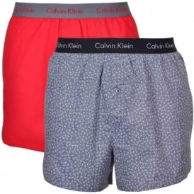 Woven Slim Fit Boxer 2-Pack, Regal Red/Retro Sparkle
