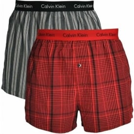 Woven Slim Fit Boxer 2-Pack, Regale Plaid Red Heat / Dobbie Stripe