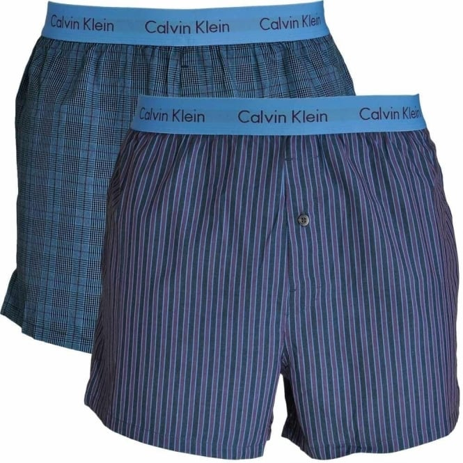 c9396fe6c7f8 Calvin Klein Woven Slim Fit Boxer 2-Pack, Turin Stripe Blue Star /  Cambridge Plaid, Small