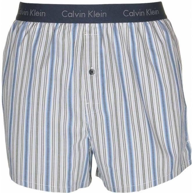 Calvin Klein Woven Slim Fit Boxer, Dynamic Stripe - Carbon Blue