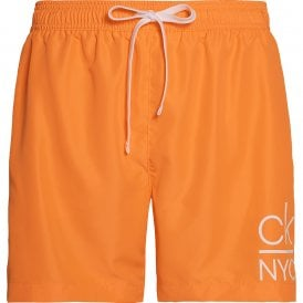 CK NYC Medium Drawstring Swim Shorts, Orange Pop