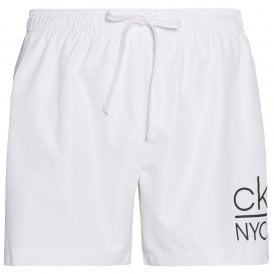 CK NYC Medium Drawstring Swim Shorts, PVH Classic White