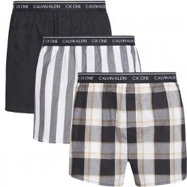 CK One Slim Fit Woven Boxer 3-Pack, Level Stripe/Black/Field Plaid