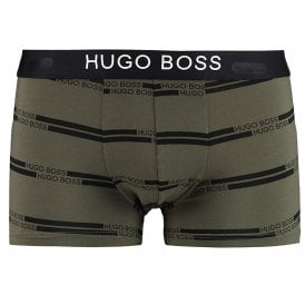 Cotton Stretch Logo Trunk, Dark Green / Logo Stripe