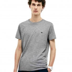 Crew Neck Pima Cotton Jersey T-shirt, Silver Chine