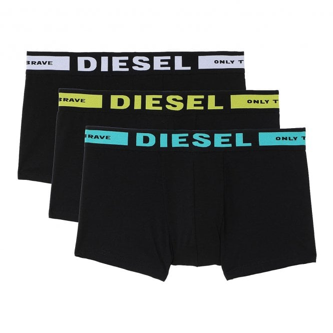 DIESEL 3-Pack Boxer Trunk, Black With Turquoise / Yellow / White