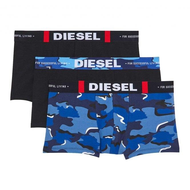 DIESEL 3-Pack Boxer Trunk UMBX-Damien, Black / Blue Camo Print