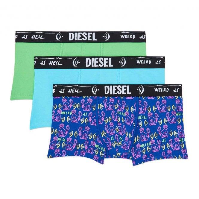 DIESEL 3-Pack Boxer Trunk UMBX-Damien, Green / Blue / Print