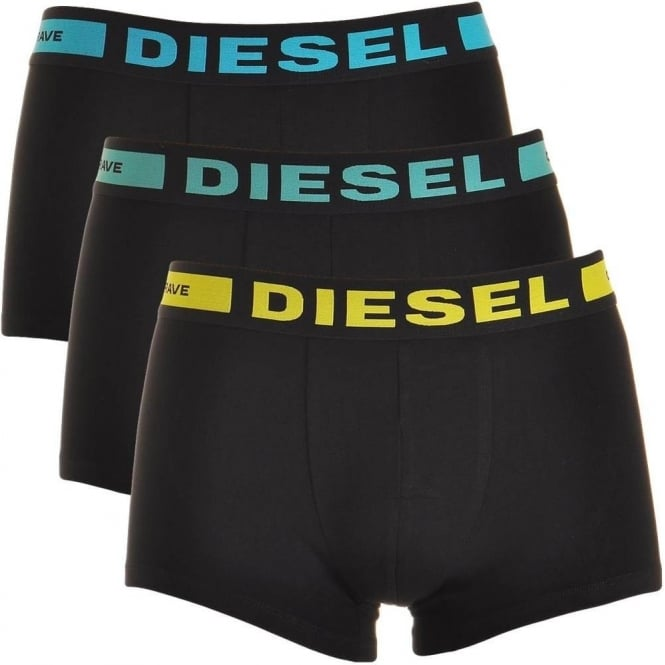 DIESEL 3-Pack Boxer Trunk UMBX-Kory, Black with Blue / Green / Yellow