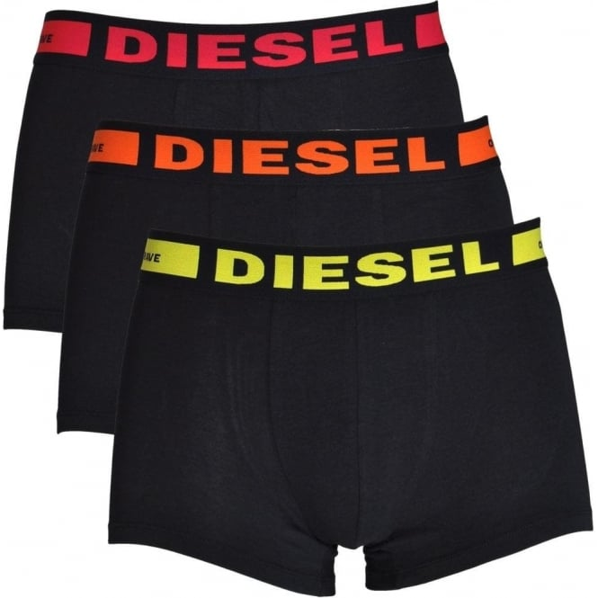 DIESEL 3-Pack Boxer Trunk UMBX-Kory, Black with Orange / Red / Yellow