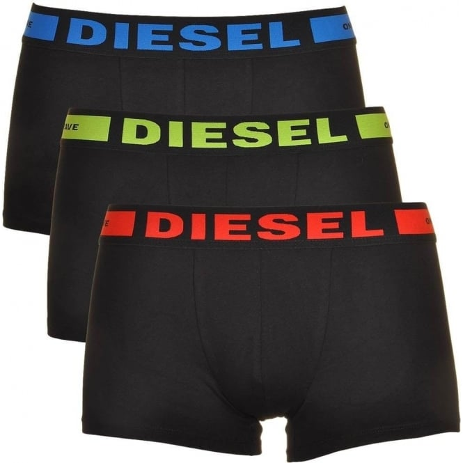 DIESEL 3-Pack Boxer Trunk UMBX-Kory, Black with Red/Green/Blue