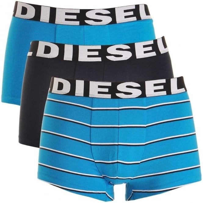 DIESEL 3-Pack Boxer Trunk UMBX-Shawn, Blue / Black / Blue Stripe