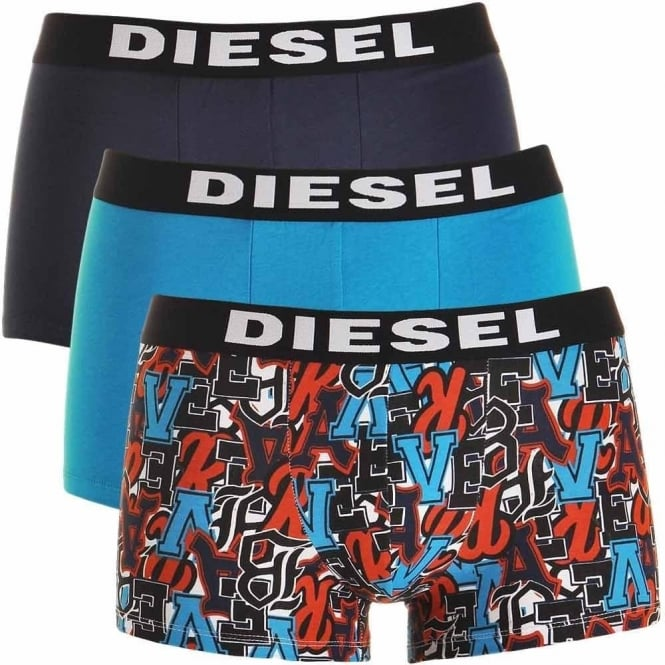 DIESEL 3-Pack Boxer Trunk UMBX-Shawn, Navy / Blue / Graffiti Print