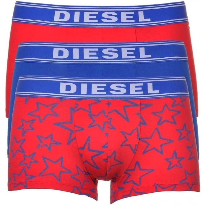DIESEL 3-Pack Boxer Trunk UMBX-Shawn, Red/Blue/Stars
