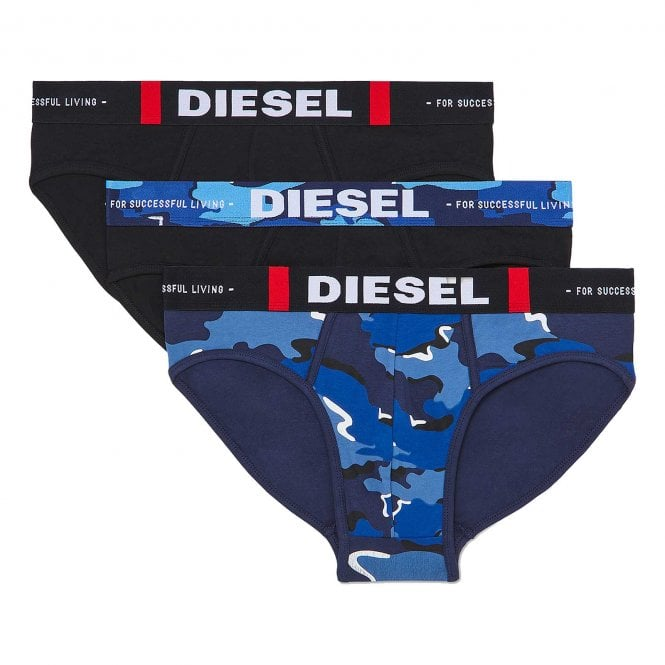 DIESEL 3-Pack Brief UMBR-Andre, Black / Blue Camo Print
