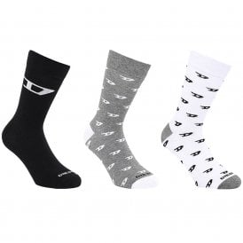3 Pack SKM-RAY Socks, Black/Grey/White Logo 'D' Print