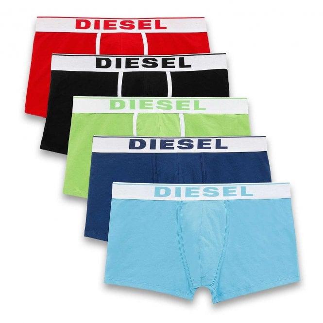 DIESEL 5-Pack Boxer Trunk, Red / Black / Green / Navy / Blue