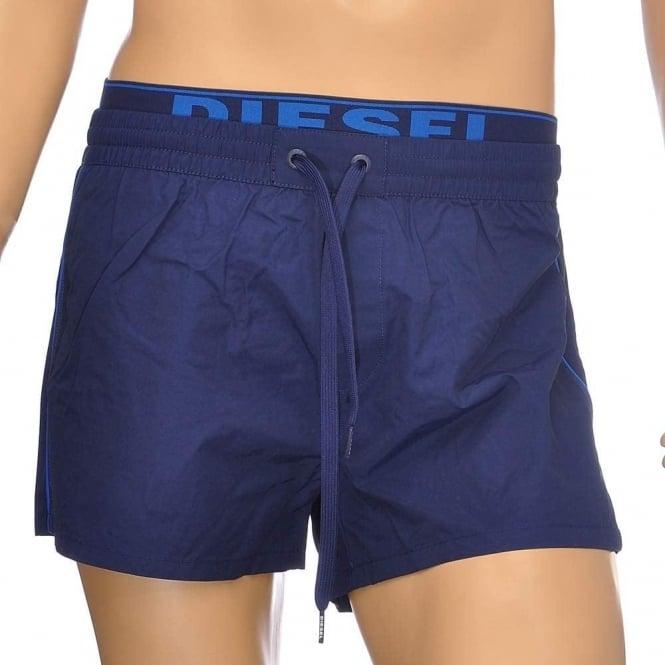 DIESEL BMBX Seaside E Logo Waistband Swim Shorts, Blue