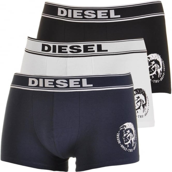DIESEL Essential Cotton Stretch 3-Pack Boxer Trunk UBMX SHAUN, Black / White / Navy