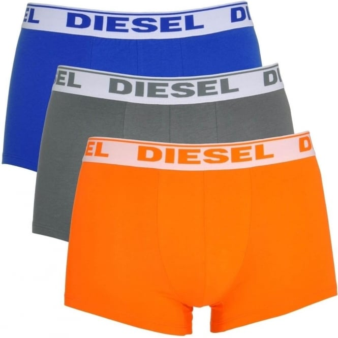 DIESEL Fresh & Bright 3-Pack Boxer Trunk UMBX-Shawn, Orange / Grey / Blue