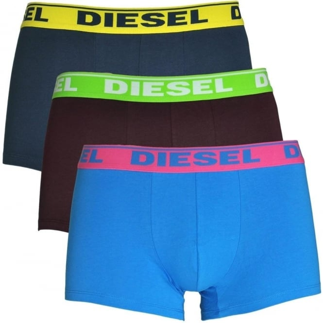 DIESEL Fresh & Bright 3-Pack Boxer Trunk UMBX-Shawn, Burgundy / Blue / Navy